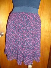 Victoria's Secret London Jean Black/Maroon Lined Knife Pleat Mini Skirt Sz 6 New