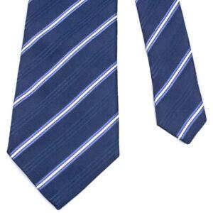 "ETRO White Medium Blue Thin Repp Stripe on Navy Woven Silk 3-3/8""x 58-1/2"" Italy"
