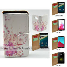 For LG Series - Purple Orchid Theme Print Wallet Mobile Phone Case Cover