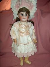 Gorgeous FRENCH antique bisque DEP 10 Jumeau doll, pierced ears, j'td. wood body
