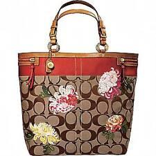 COACH LTD ED KHAKI SIG C MULTICOLOR FLORAL FLOWER SHOPPER TOTE TRAVEL BAG  XL WOW 269d7be281981