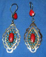 "Earrings Teardrop Gemstone Afghan Kuchi Alpaca Silver 2"""