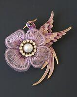 Unique vintage style Bird flower  Brooch Pin in enamel on gold tone metal