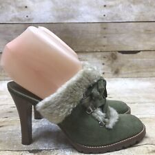 Gianni Bini Green Suede Faux Fur Size 6 Mules Clogs High Heel Slides Shoes Chic