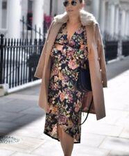 Topshop Beige Nancy Slim Fur Collar Wrap Wool Crombie Jacket Coat 4 to 18 New
