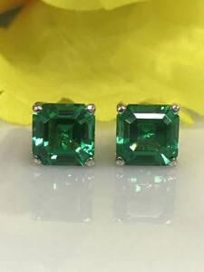 3.50cts Emerald Green Asscher Cut Womens Stud Earrings Free Pendant 925 Silver