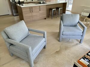 2 Newly Upholstered Milo Baughman Lounge Chairs Mid Century Modern Pair