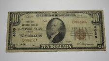$10 1929 Newport News Virginia VA National Currency Bank Note Bill Ch #4635 RARE