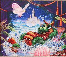 Drache Stickpackung Perlen Stickset Stickvorlage Stickbild Kind. Motiv Märchen64