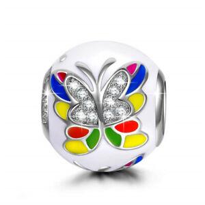 Diy Color Butterfly Silver European Charm Beads Fit Pendant Necklace Bracelet