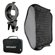 Neewer 60x60cm Bowens Mount Softbox with Grid S-type Flash Bracket for Speedlite