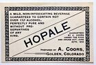 Vintage Prohibition A. Coors Hopale Beer Label Golden CO