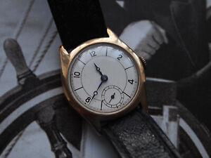 Interesting 1930 Pilot 9ct Chester Gold Stolkase British Made Case Gents Watch