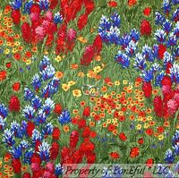 BonEful FABRIC FQ Cotton Quilt VTG Green Grass Wild Flower Blue Red Country Farm