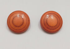 """Vintage 80s Big Chunky Wooden Earrings Round 1¼"""" Pierced Redwood Stained"""