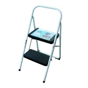 New Extra Durable Portable Folding 2-STEP Ladder Stool Chair Steel White
