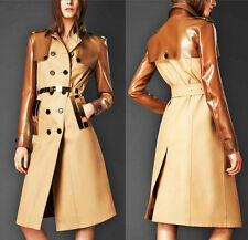 BURBERRY PRORSUM Gabardine Cotton Rubber Trench Coat Gold Accents $2795 US8 IT42