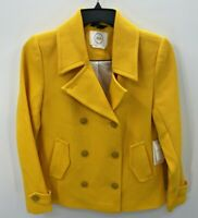 1901 Nordstrom Womens Small Yellow Blazer Double Breasted Jacket Notch Collar