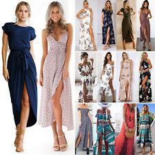 Damen Boho Blumen Maxi lange Kleid Partykleid Abendkleid Strandkleid Sommerkleid