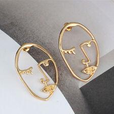 Vintage Gold Hollow Human Face Statement Ear Stud Dangle Earrings Women Jewelry