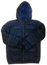The North Face Boy's Blue 550 Down Full Zip Hooded Puffer Coat Size Medium