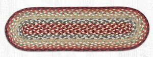 Country Red, Thistle Green Braided Stair Tread / Table Runner by Earth Rugs