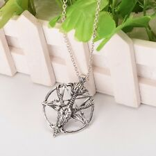 Vintage Baphomet Inverted Pentagram Necklace Satanic goat's Occult Ritual 1pc