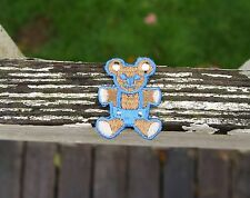 Brown Teddy Bear in a Baby Blue Jumper Embroidered Patch