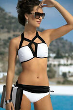 Designer  Bikini Black & White Cross Over Tie  Swimwear 2 piece Padded Top  8
