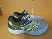 MENS SAUCONY GRID COHESION GRAY BLACK NEON GREEN RUNNING SHOES SIZE 8M A629