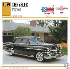 CHRYSLER WINDSOR 1949 CAR VOITURE UNITED STATES ÉTATS UNIS CARTE CARD FICHE
