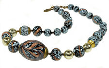 VTG MIRIAM HASKELL VENETIAN ROBINS EGG GLASS NECKLACE SIGNED