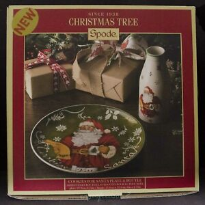 SPODE CHRISTMAS TREE COOKIES FOR SANTA PLATE AND MILK BOTTLE a