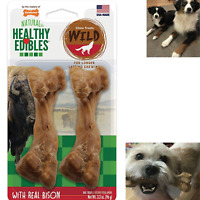 Dog Chew Treats Long Lasting Bison Snack Bones 2 Pieces Wild Natural Pet Pack
