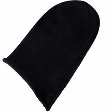 Mens 100% Cashmere Beanie Hat - 'Black' - hand made in Scotland RRP $120