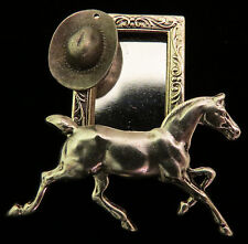 Horse Pony Cowboy Hat Equestrian Small Wearable Photo Frame Pin Silver Plt & OMS