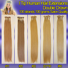 20 inches Double Drawn I Tip European Human Hair Extension 100g 100 strands