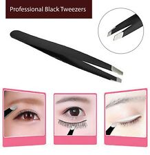 Professional Black Eyebrow, Tweezers Slanted Stainless Steel For Hair Beauty