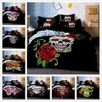 3D Skull Flowers Print Comforter/Duvet Cover Bedding Set Pillowcase Quilt Cover
