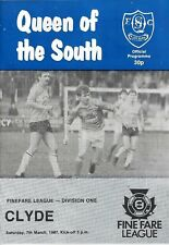 Football Programme>QUEEN OF THE SOUTH v CLYDE Mar 1987