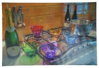 """Colored Glass Bowls Bottles on Stove Photographic Print Champagne 30"""""""