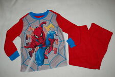 Boys L/S Pajamas Set Spiderman Warm Flannel Red Blue Gray Superhero Xs 4-5