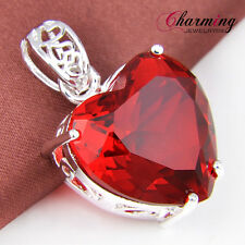 Top Beautiful Love Heart Fire Red Garnet Gems 925 Solid Silver Necklace Pendant
