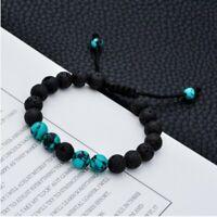 Adjustable Lava Rock Bracelet Women Natural Volcano Beads Buddhism Bracelet Gift