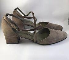 YVES SAINT LAURENT Vintage d'Orsay Block Heels 7.5 Ankle Strap Buckle YSL