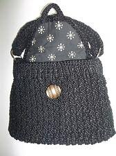 Vintage Sputnik Black Crochet Purse - 1960's Satellite Theme