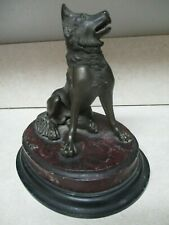 """19th c.  Antique French Bronze Dog Sculpture on red & black marble base 5 1/2"""""""