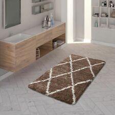 Tappeto Shaggy a pelo lungo per il bagno, con design bianco a rombi tinta unita,