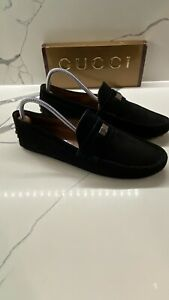 100% Genuine Men's Black Suede Gucci Driving Loafers Uk Size 8.5G 👌🏽👌🏽