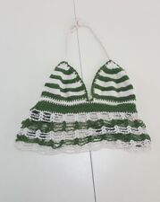 Green White Knit Swim Suit Top Size Small